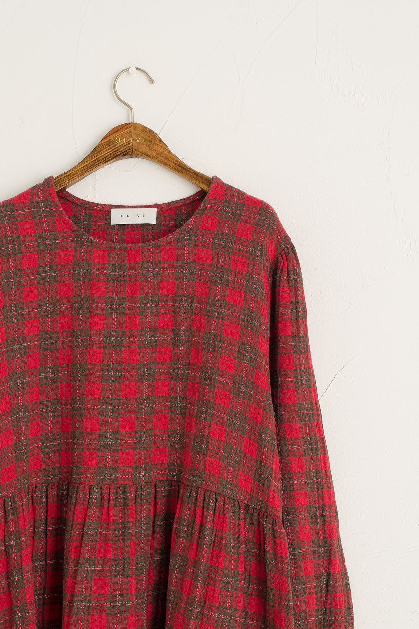 Check Flannel Dress, Red