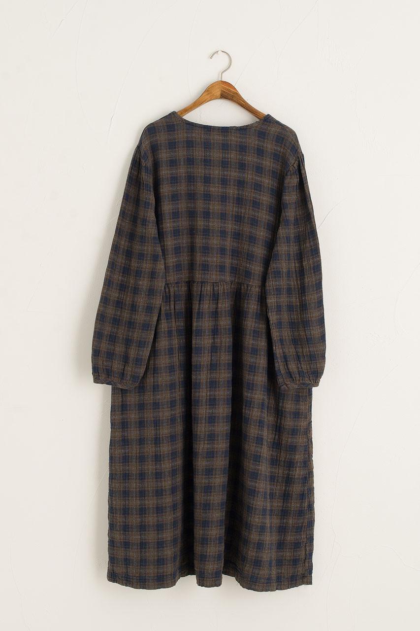 Check Flannel Dress, Khaki