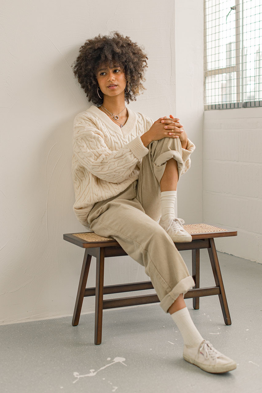 Chunky Cable V Neck Jumper, Cream