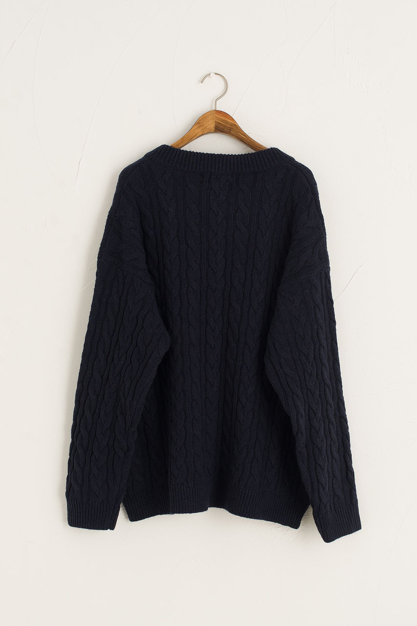 Chunky Cable V Neck Jumper, Navy