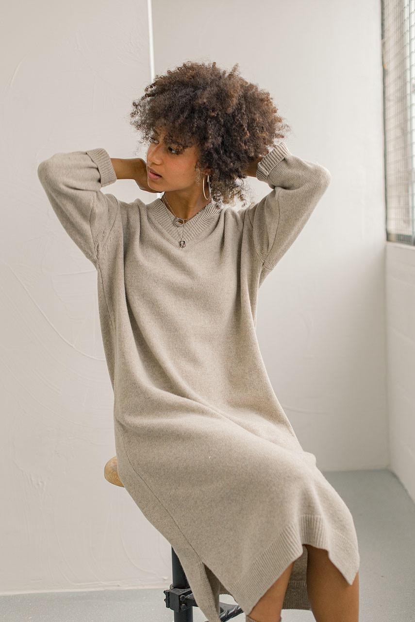 V Neck Knit Dress, Beige