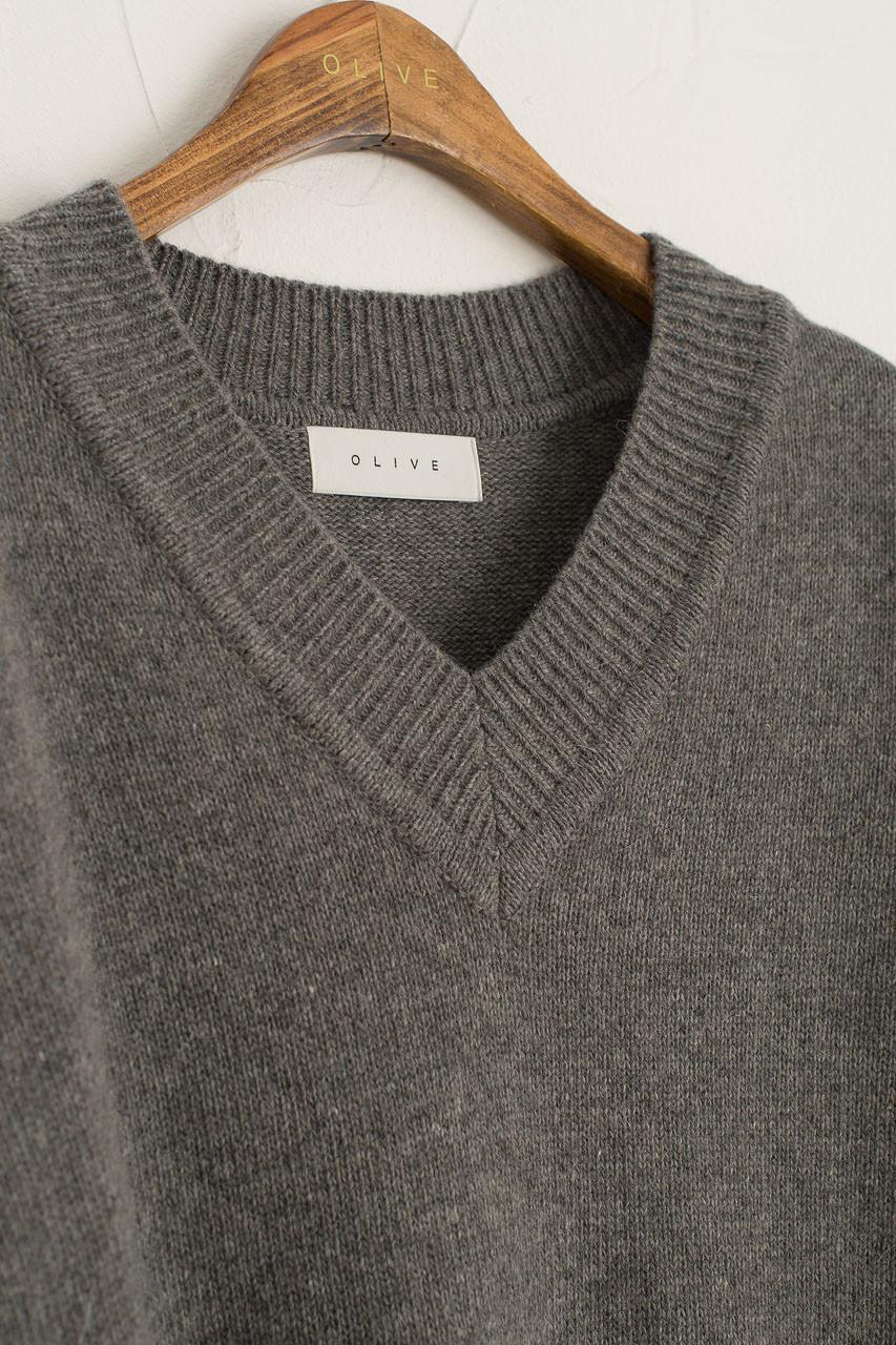 V Neck Knit Dress, Grey