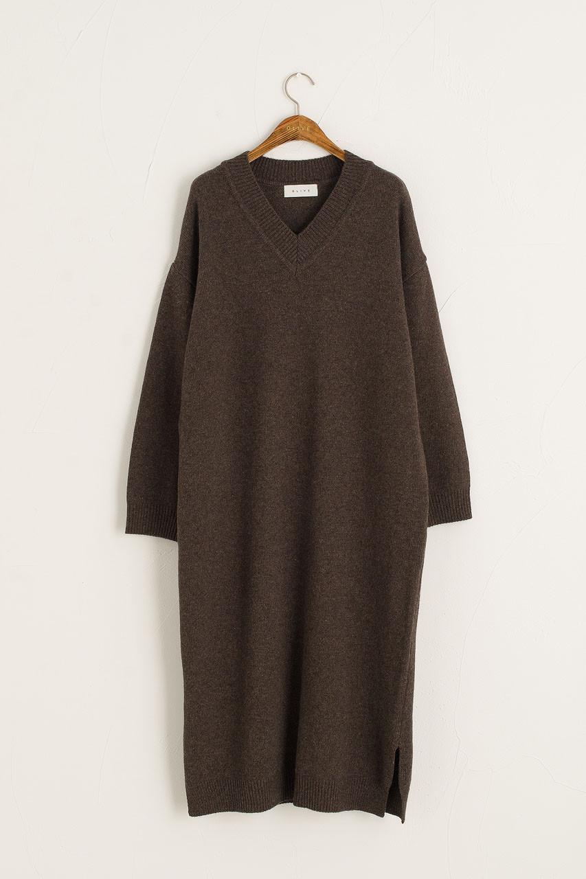 V Neck Knit Dress, Brown