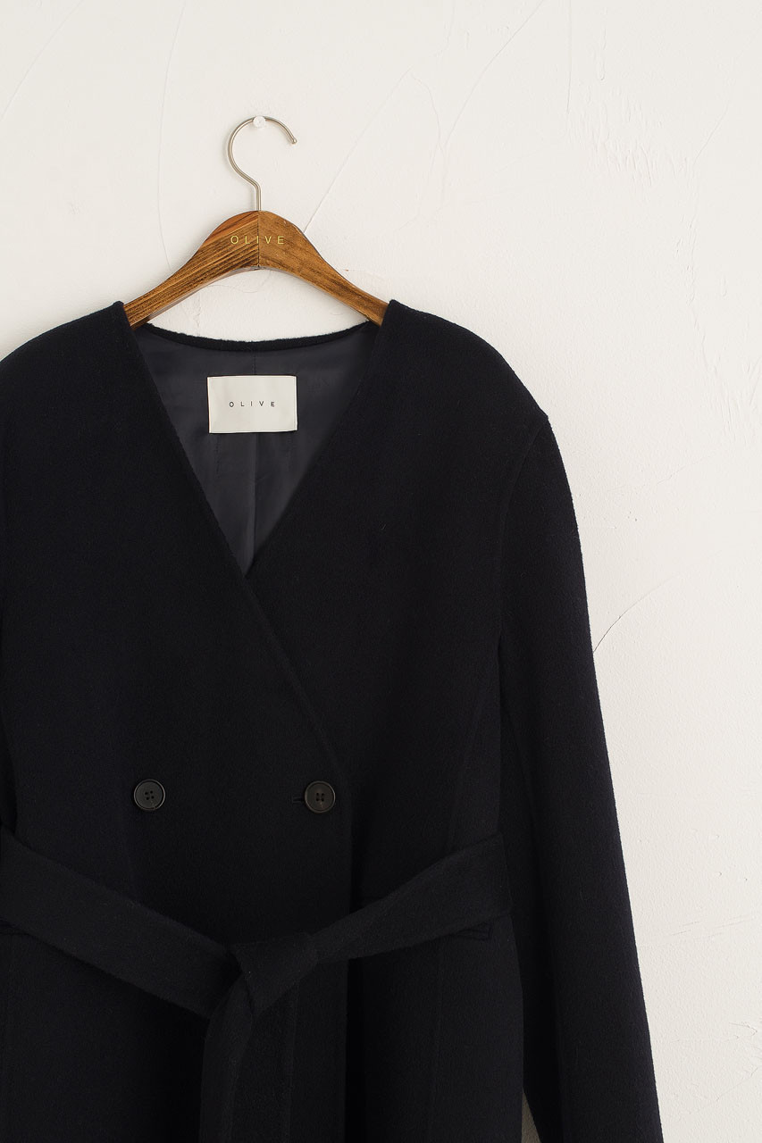 Collarless Wool Coat, Navy