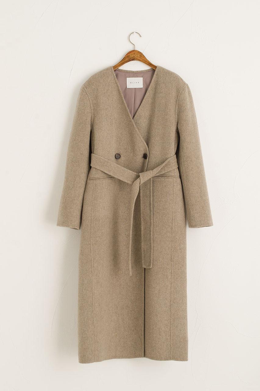 Collarless Wool Coat, Oat