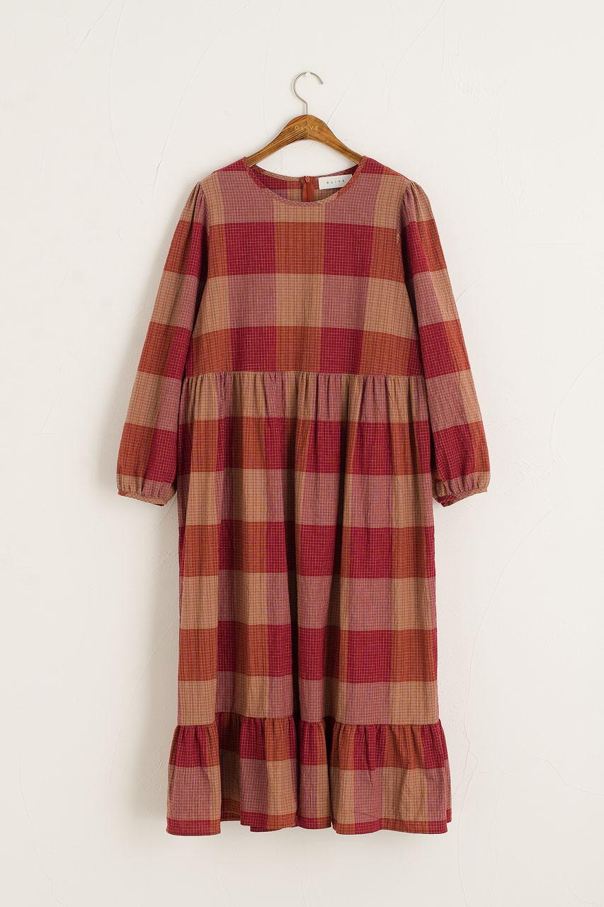 Kuni Check Dress, Red