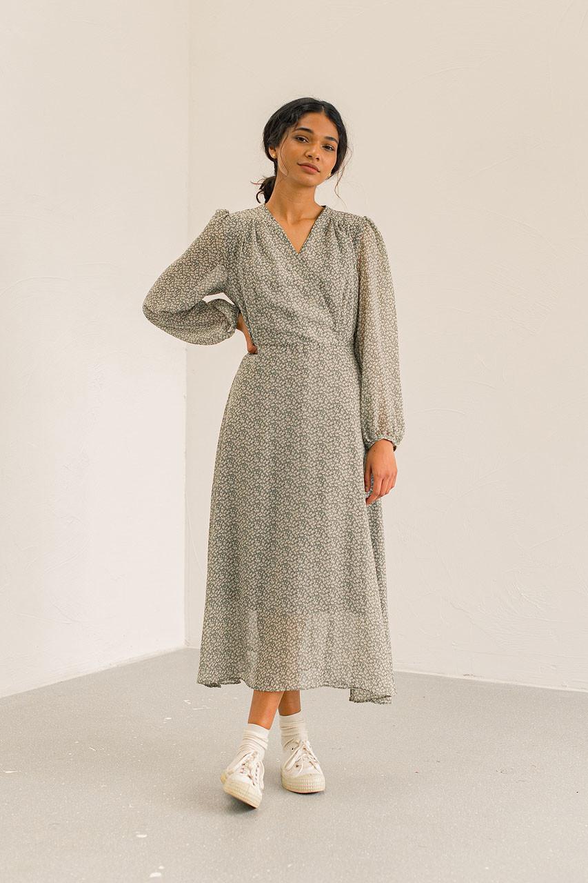 Sana V Neck Mid Dress, Mint