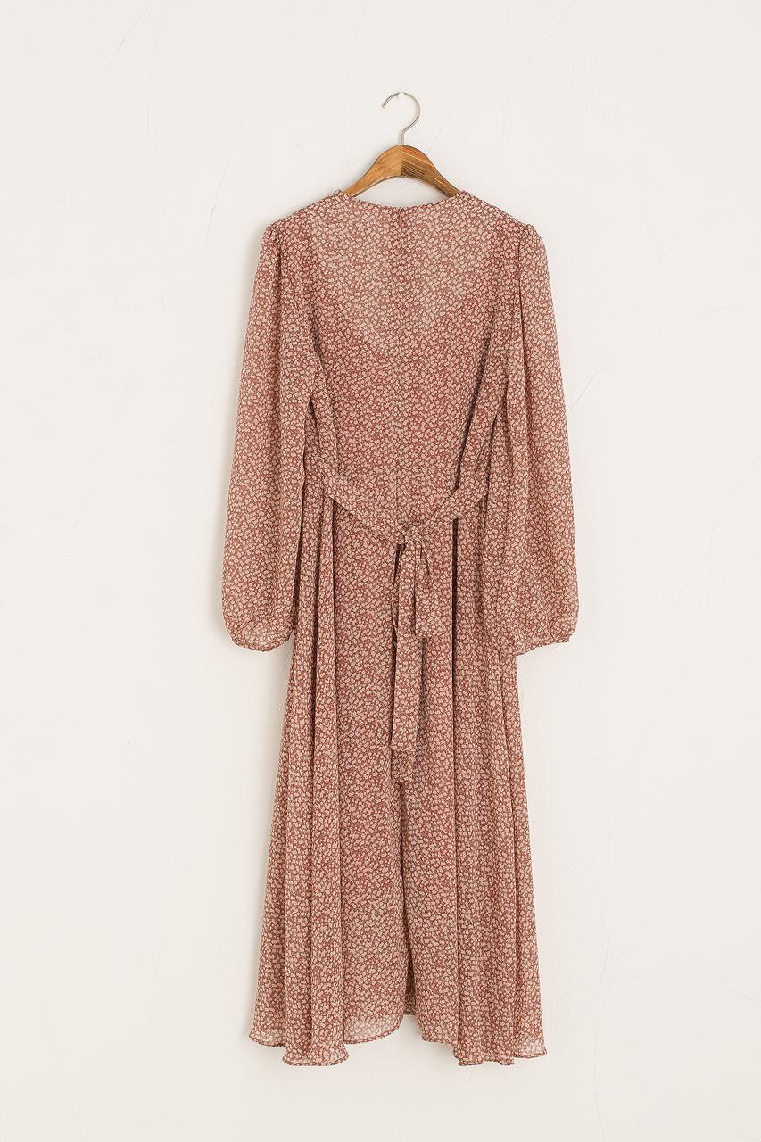 Sana V Neck Mid Dress, Brick