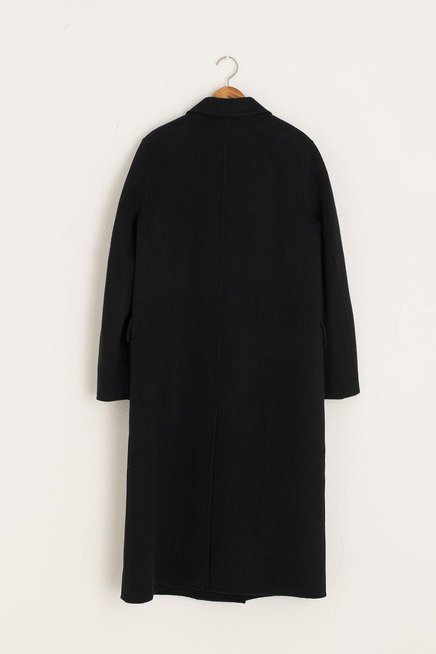Seamless Double Button Coat, Black