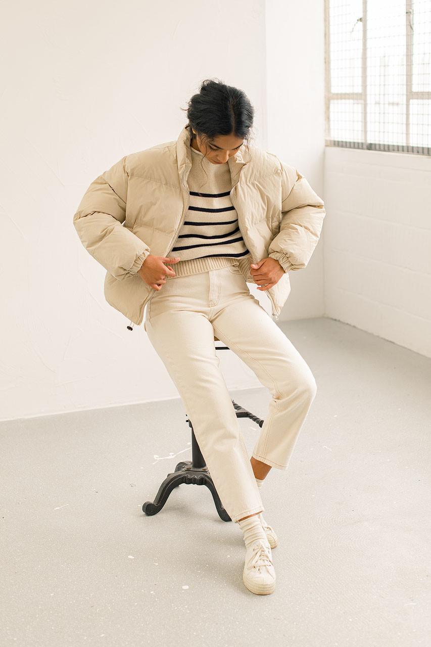 Cropped Padded Jacket, Beige