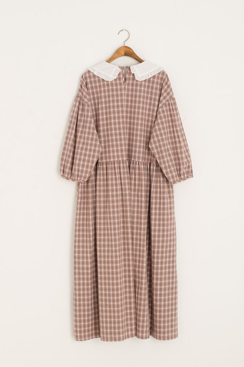 Lucy Lace Collar Check Dress, Pink
