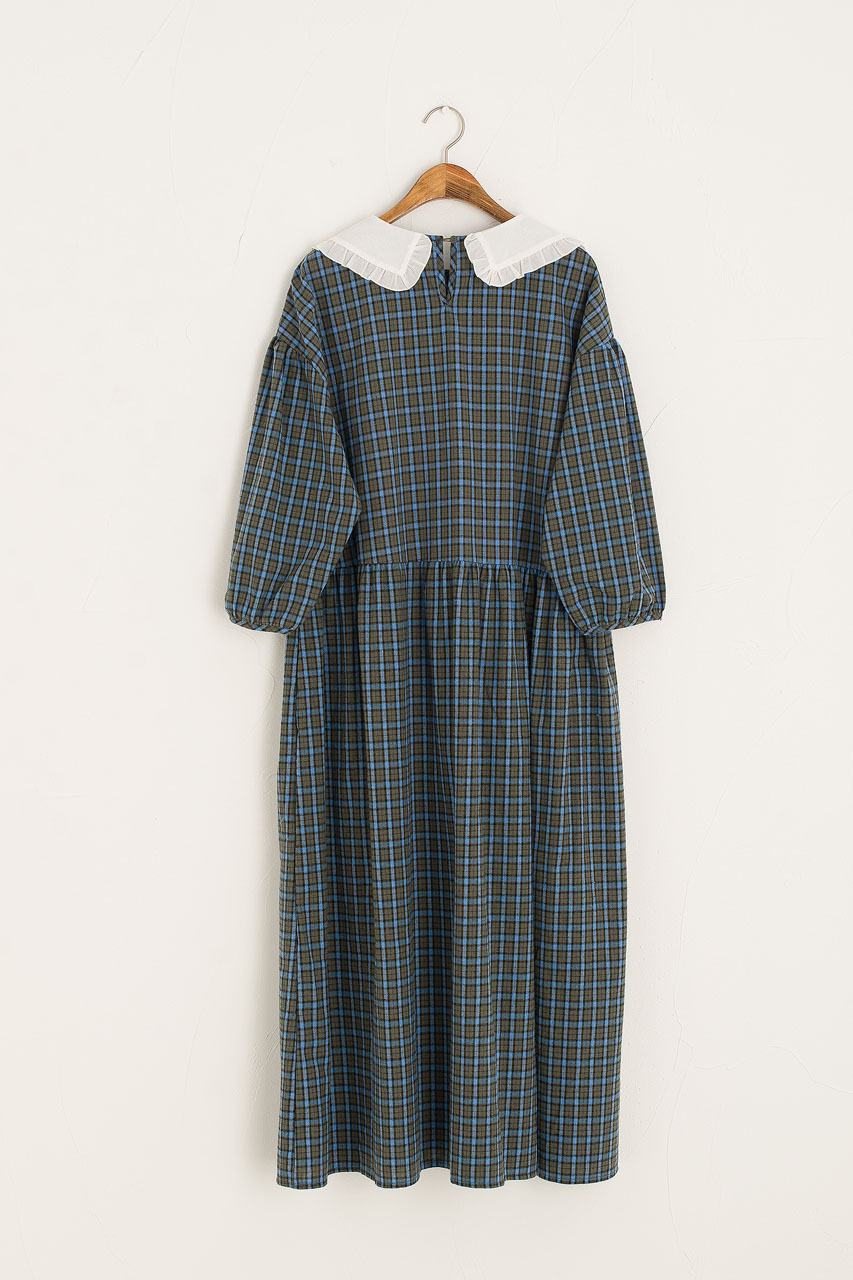 Lucy Lace Collar Check Dress, Green