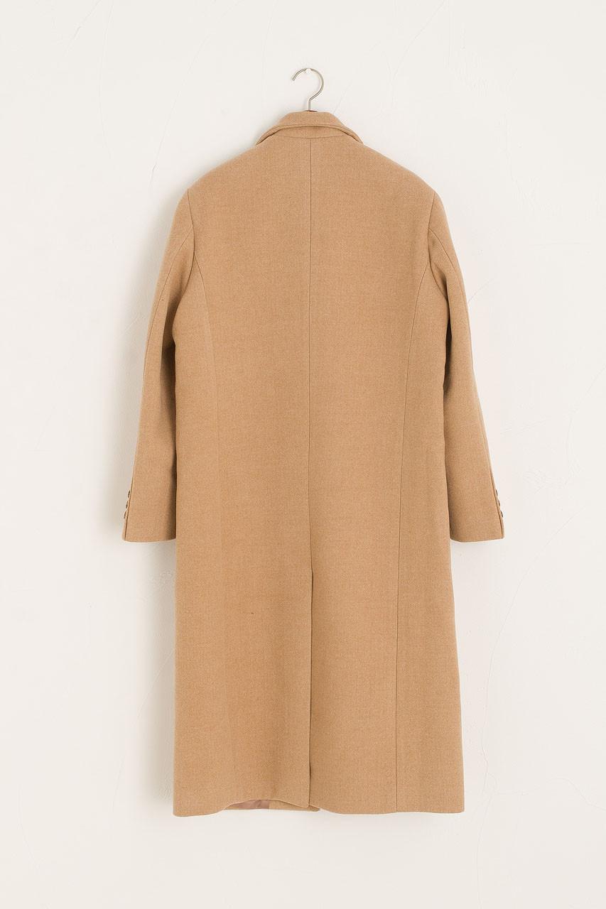 Jena Single Breasted Wool Coat, Beige