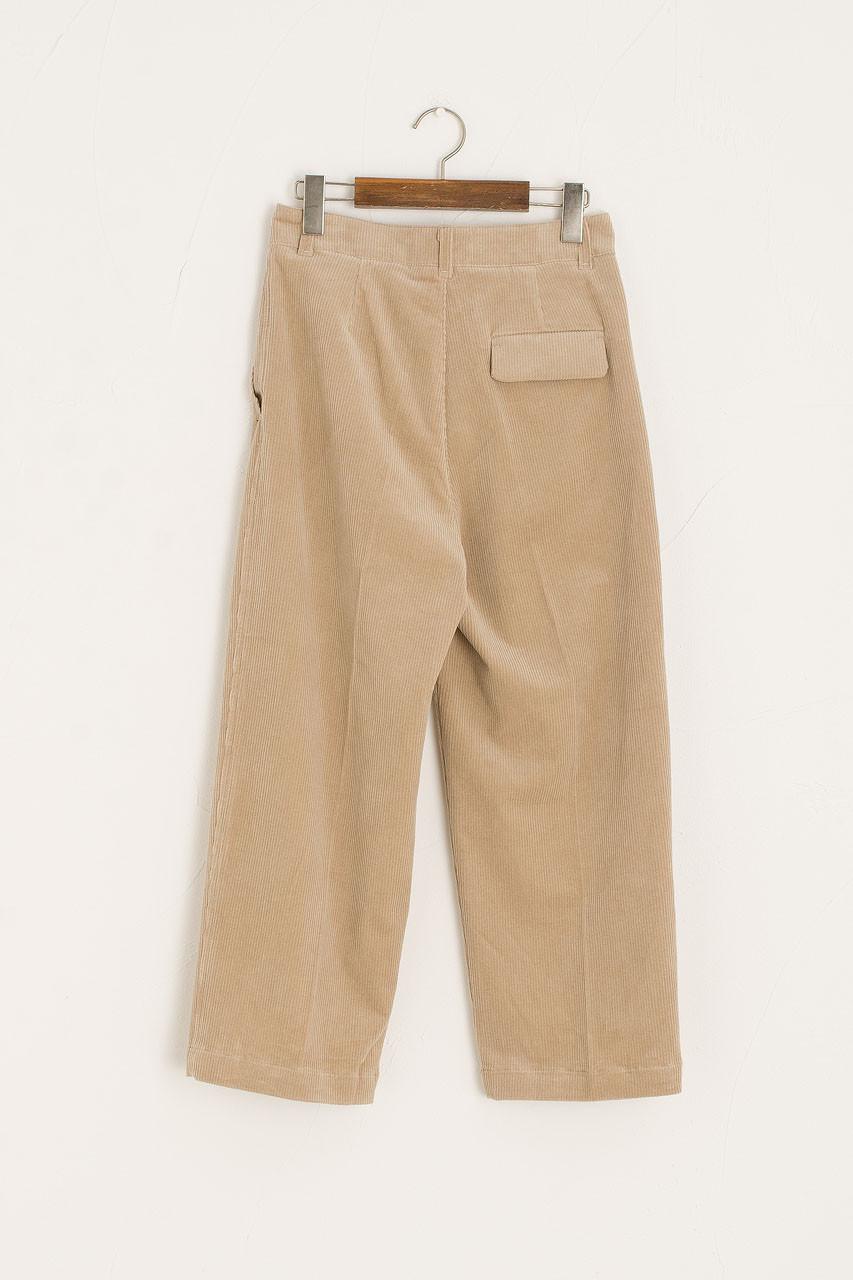 Hana Cord Pin Tuck Pants, Beige