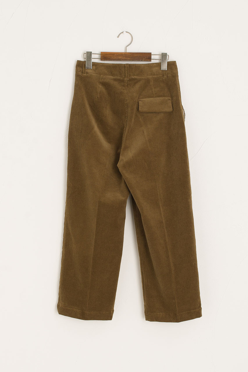 Hana Cord Pin Tuck Pants, Khaki