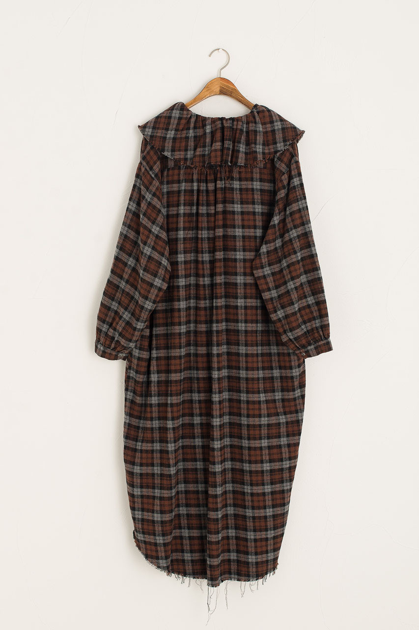 Lizzy Frill Neck Check Dress, Brown