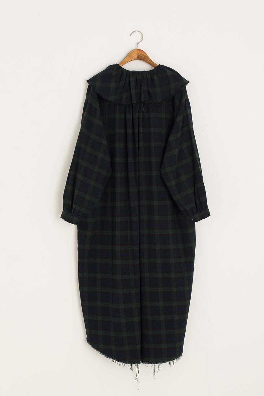 Lizzy Frill Neck Check Dress, Green