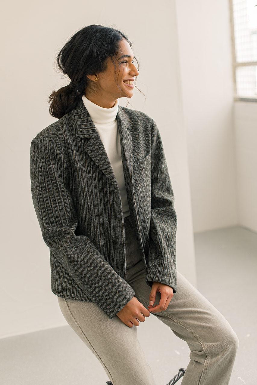 Wool Herringbone Jacket, Khaki