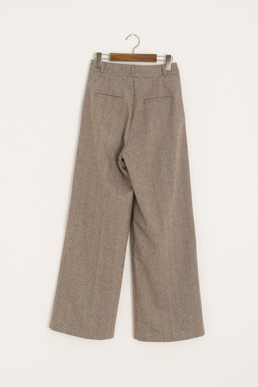 Herringbone Loose Trouser, Beige