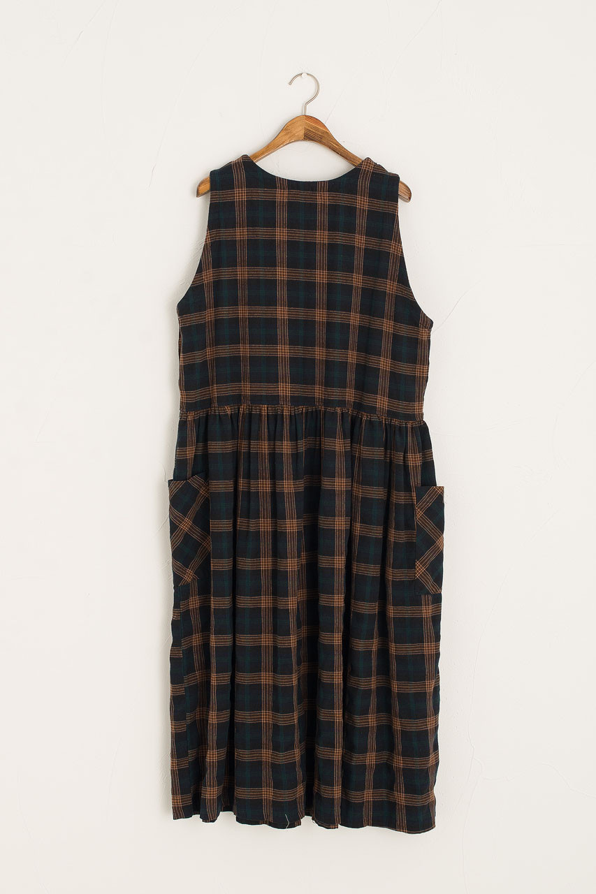 Button Side Check Pinafore Dress, Navy