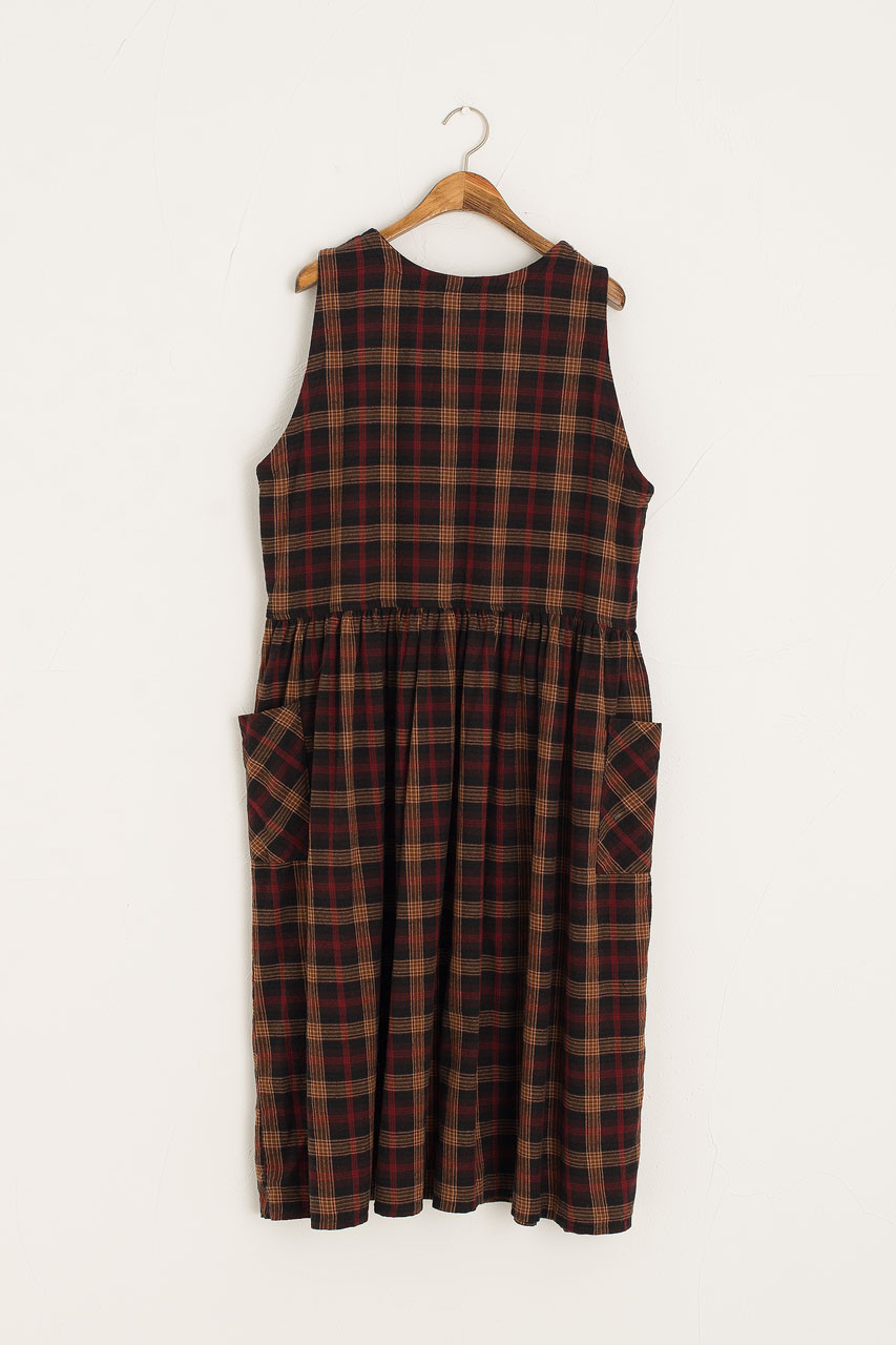Button Side Check Pinafore Dress, Red