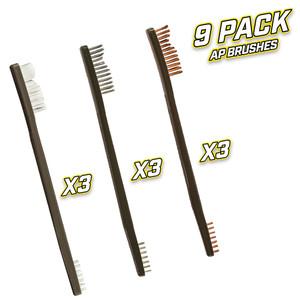 9 Pack AP Brushes(3 Nylon/3 Bronze/3 Stainless Steel)
