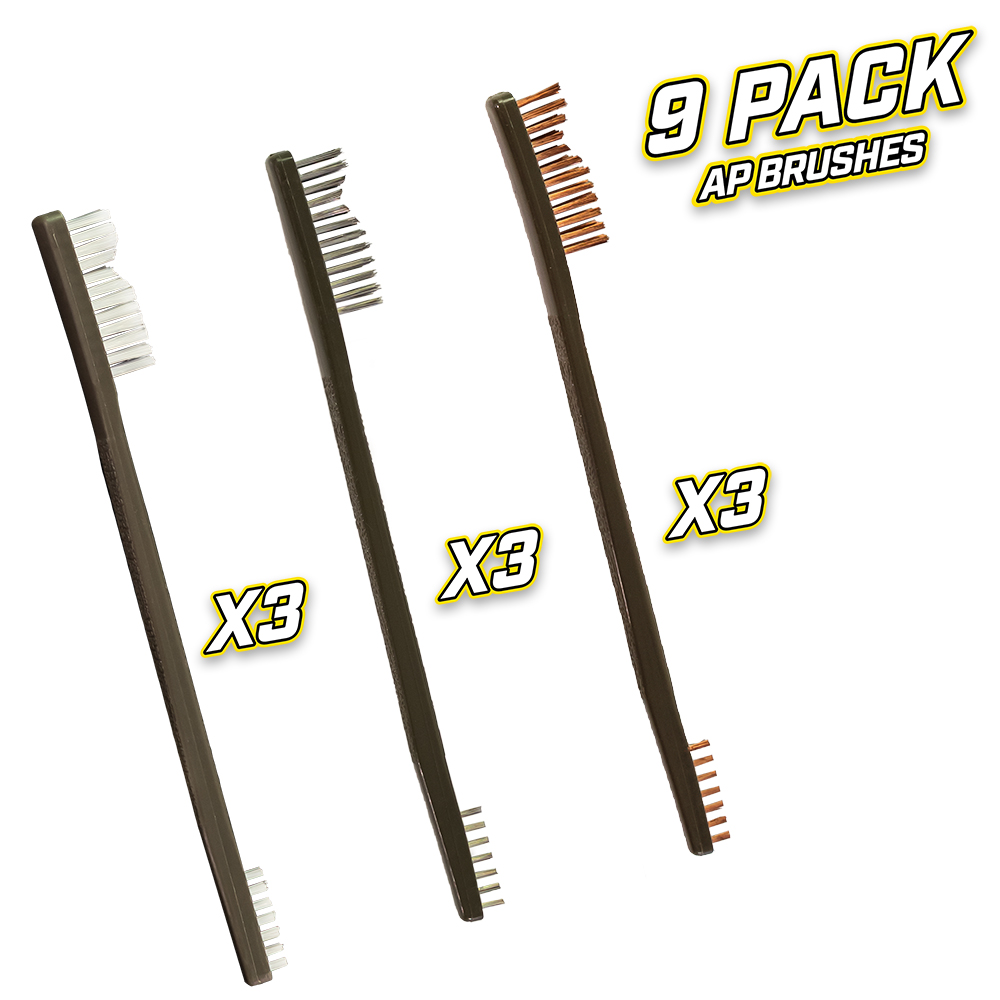 9 Pack AP Brushes(3 Nylon/3 Bronze/3 Stainless Steel)