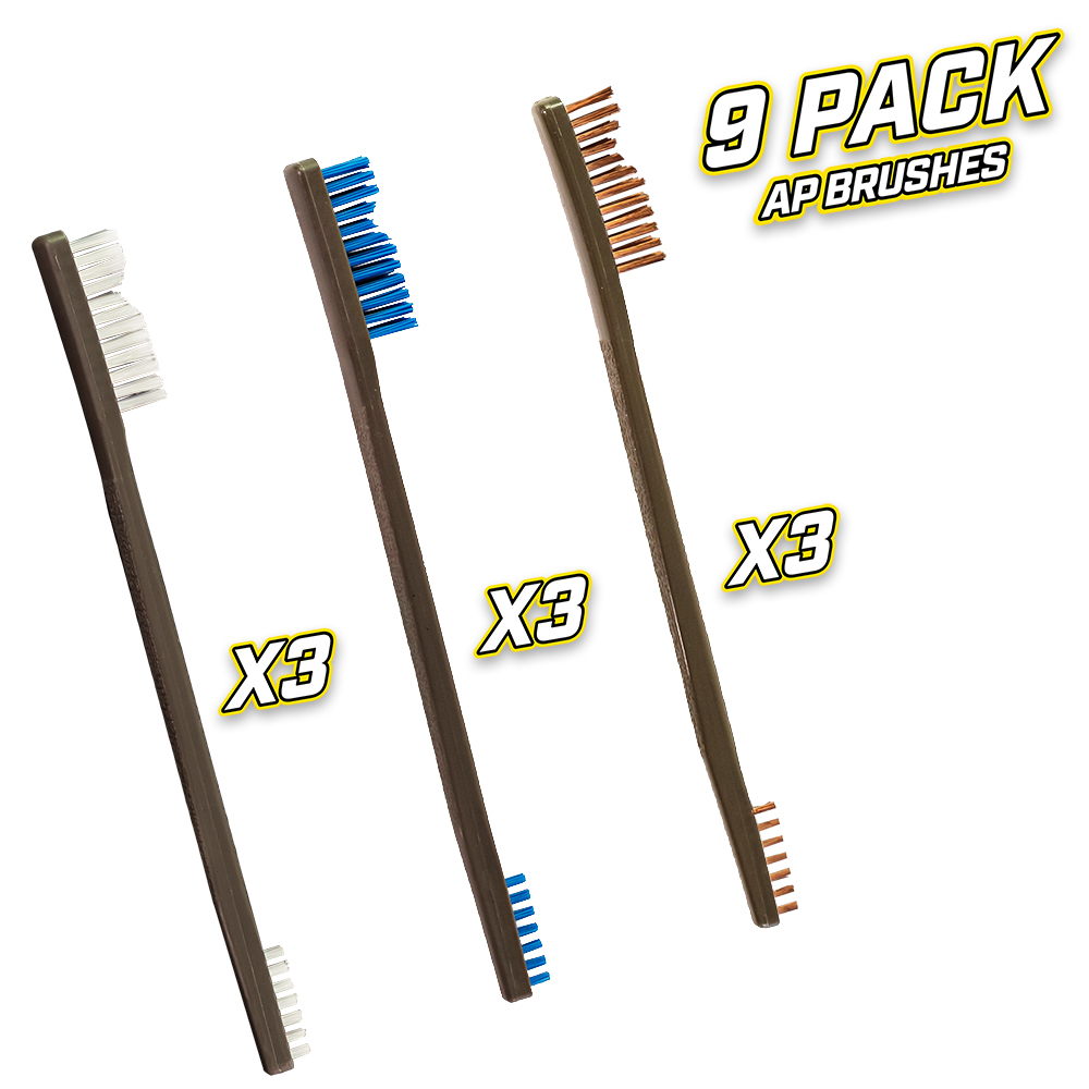 9 Pack AP Brushes(3 Nylon/3 Blue Nylon/3 Bronze)