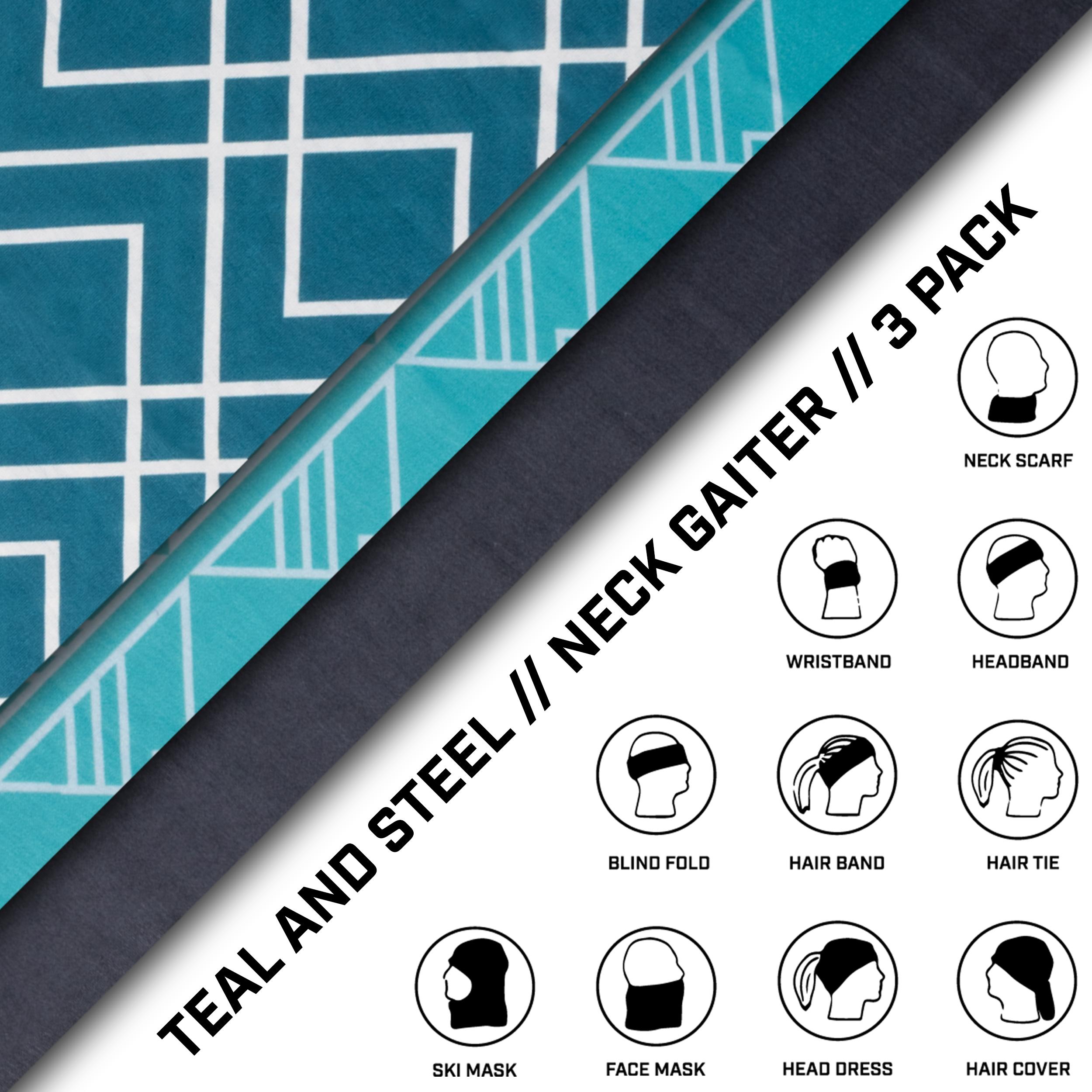 Neck Gaiter 3 Pack - Teal & Steel