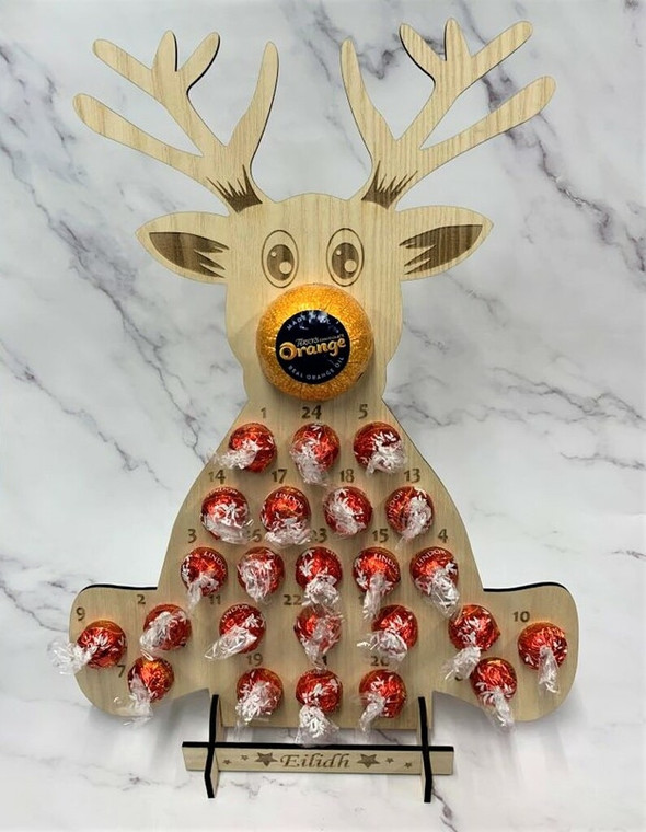 Personalized Reindeer Advent Holiday Countdown Calendar for Lindor or Ferrero Rocher Chocolates