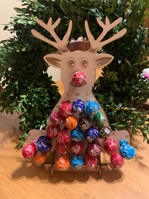 Personalized Reindeer Advent Holiday Countdown Calendar for Lollipops.