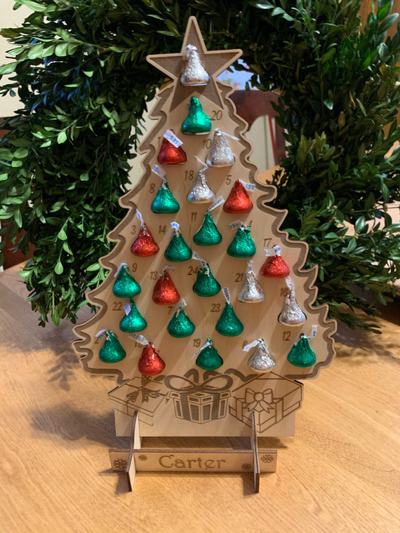 Personalized Hershey Kiss Christmas Tree Advent Holiday Countdown Calendar