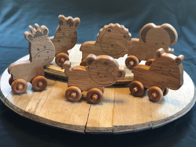 Wooden Toy Animals made from Bourbon Barrels