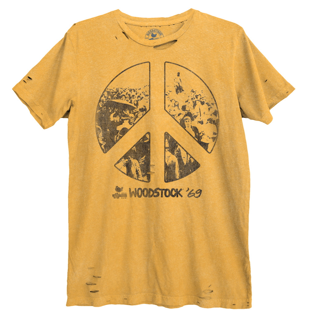 Woodstock Peace Sign Destroyed Unisex Tee