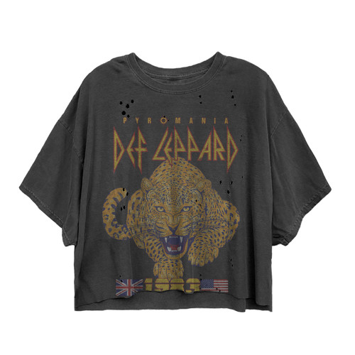 Def Leppard Tour 1983 Cat Vintage Crop
