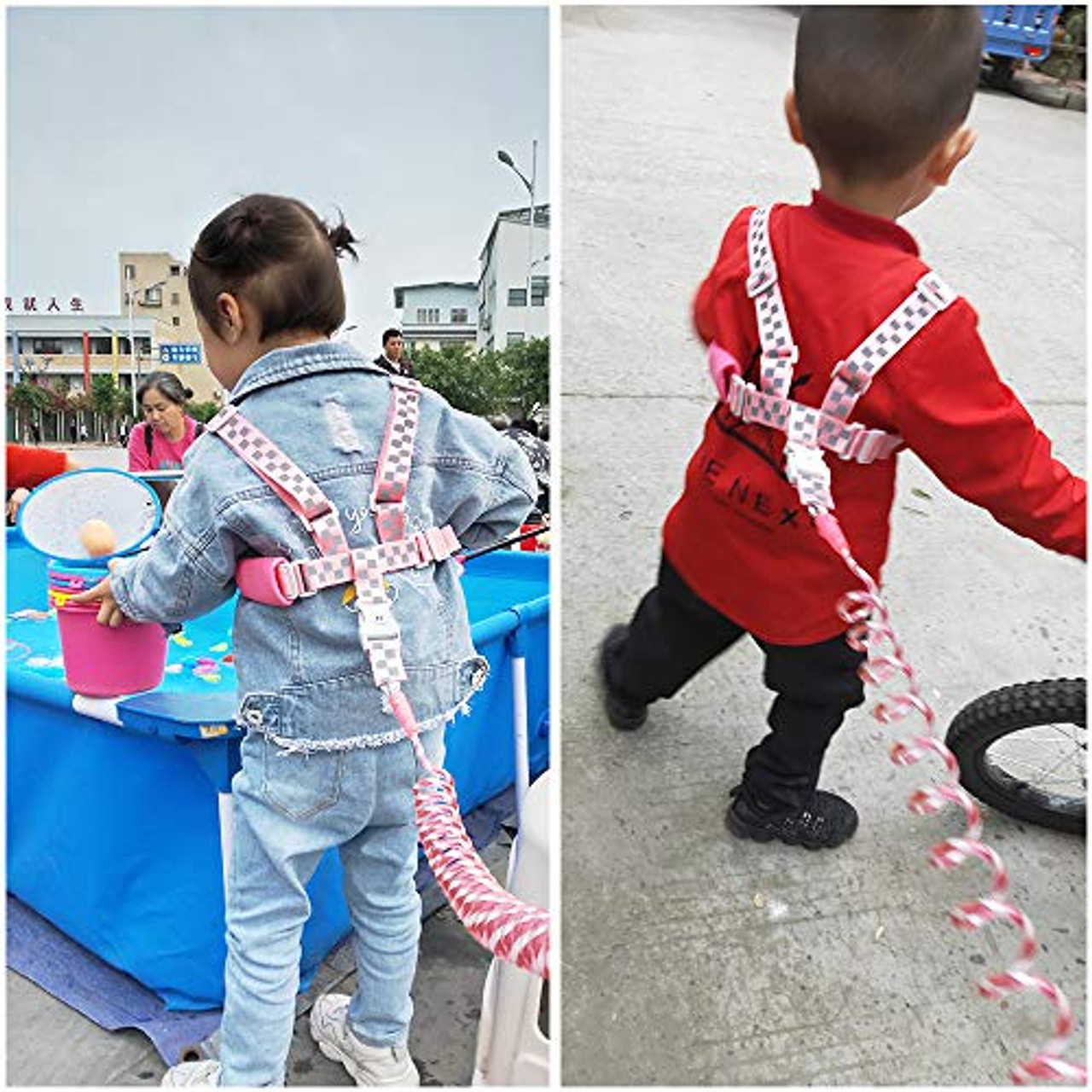 2 in 1 Baby Toddler Leash Child Kid Walking Harness Pink Anti Lost Wrist Link