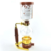 Caffe Arts™ Vacuum Siphon Pot Brewer - 5 Cup, Wood & Gold