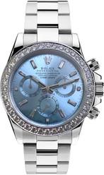 Rolex Pre Owned Steel Daytona 116520 Custom Ice Blue Diamonds