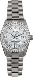 Rolex White Gold President Midsize Custom Bezel and Dial on President Bracelet P68279MOPDD