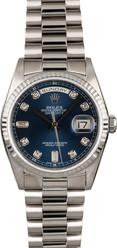 Rolex White Gold President 36mm Custom Blue Diamond Dial on President Bracelet P18239LD
