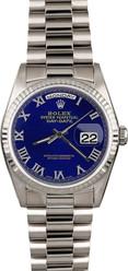 Rolex White Gold President 36mm Custom Blue Roman Dial on President Bracelet P18239LR