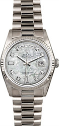 Rolex White Gold President 36mm Custom Pearl Dial on President Bracelet P18239MOPD