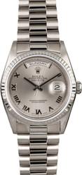 Rolex White Gold President 36mm Custom Silver Roman Dial on President Bracelet P18239SR