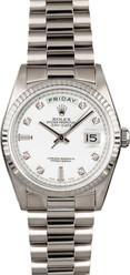 Rolex White Gold President 36mm Custom White Diamond Dial on President Bracelet P18239WD