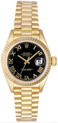 Rolex Women's President Yellow Gold Fluted Black Roman Dial