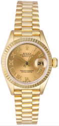 Rolex Women's President Yellow Gold Fluted Champagne Roman Dial