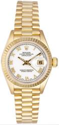 Rolex Women's President Yellow Gold Fluted White Roman Dial