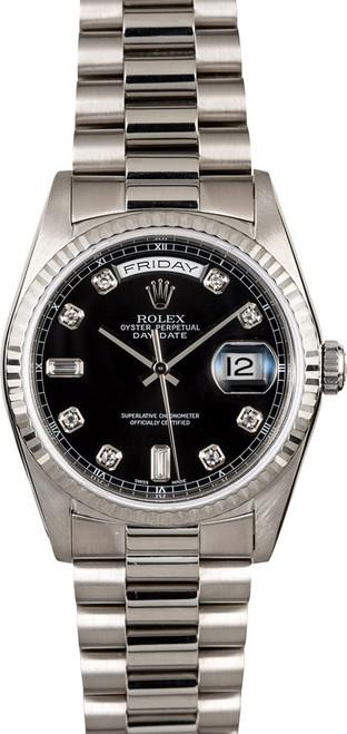 Rolex White Gold President 36mm Custom Black Diamond Dial on President Bracelet P18239BD