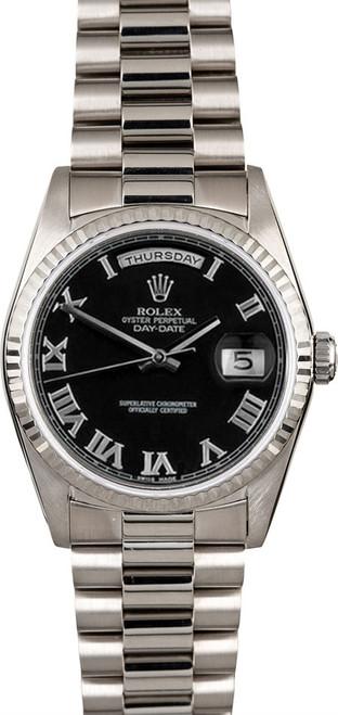Rolex White Gold President 36mm Custom Black Roman Dial on President Bracelet P18239BR