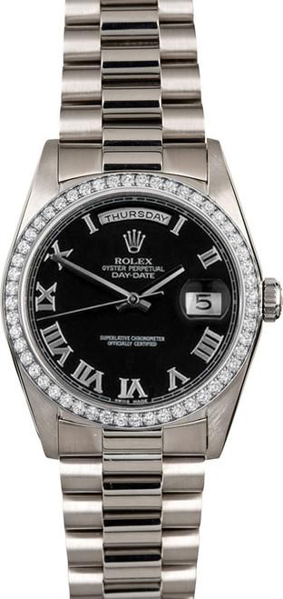 Rolex White Gold President 36mm Custom Diamond Bezel and Black Roman Dial  P18239BRD